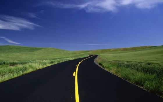 дорога, банка, разметка, margin, дороге, желтая, небо,