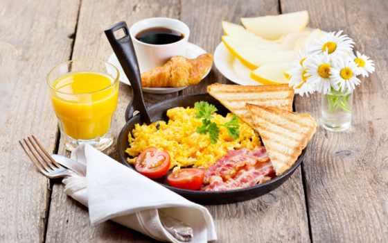 завтрак, соком, bacon, сковороде, healthy, coffee, яичница, online,