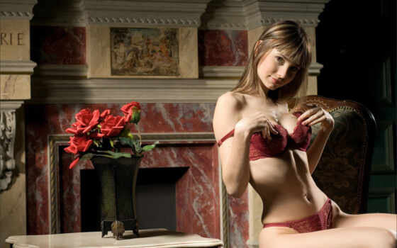 ваза, розы, девушка, bas, белье, цветами, нижнее, камин, кресло,