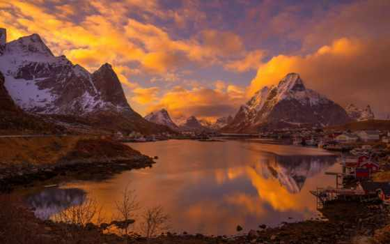 pantalla, noruega, гора, norwegian, montanas, asentamiento, деревня, abyss, планшетный, smartphone, escritorio