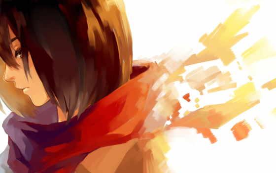 anime, mikasa, ackerman, девушка, шарф, attack, titanium, art, red, adult