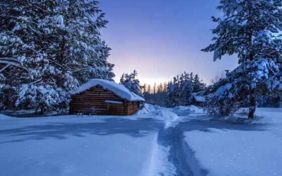 winter, лес, снег, house, природа, коллекция, trees, иней, вечер, landscape, drift