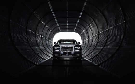 , royce, черный, туннель, машина, темнота,, rolls-royce, phantom, viii,