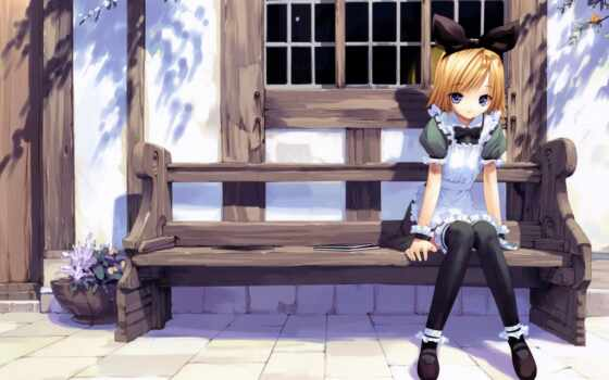anime, девушка, скамейка, окно, sit, браун, cute, mang, объект, art