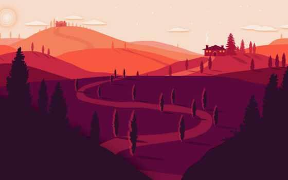 закат, вектор, арта, минимализм, publish, neon, гора, rising, red, красивый, domyt