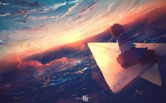 anime, девушка, fly, бумага, plane