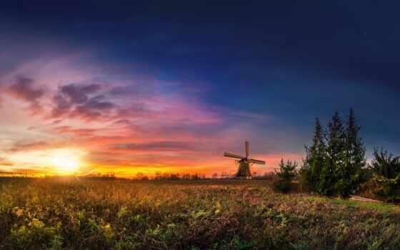 поле, sun, закат, mill, id