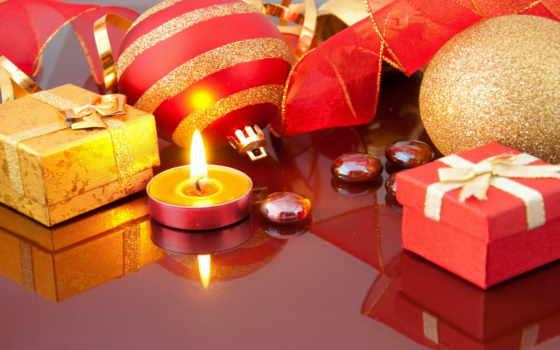 новый, год, праздник, подарки, подарок, игрушки, новогодние, украшения, свеча, лента, шары, огонь, отражение, пламя, christmas, merry,