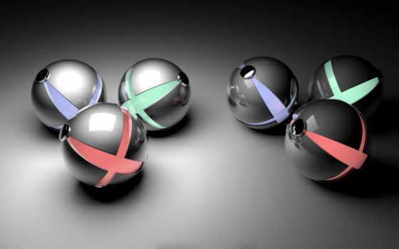 металлик, spheres, grey, desktop, uma, bela, tipos,