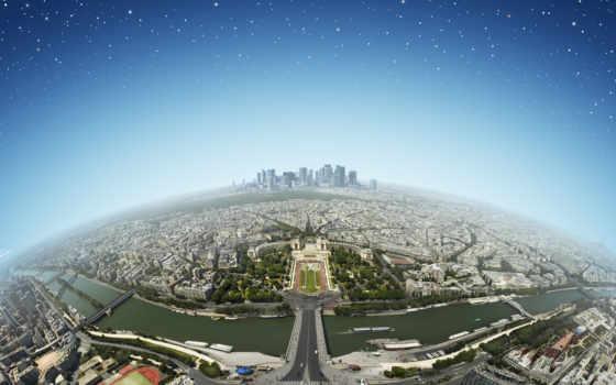 город, панорама, вид, высоты, париж, первую, города, франция,