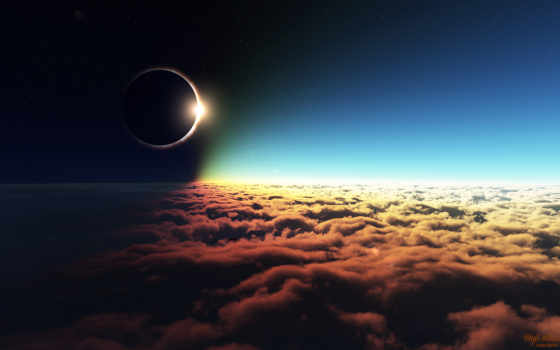 eclipse, солнечный, космос