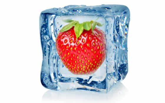 фрукты, лед, клубника, стоковое, замороженные, ягода, royalty, кубик, капельки, stock,