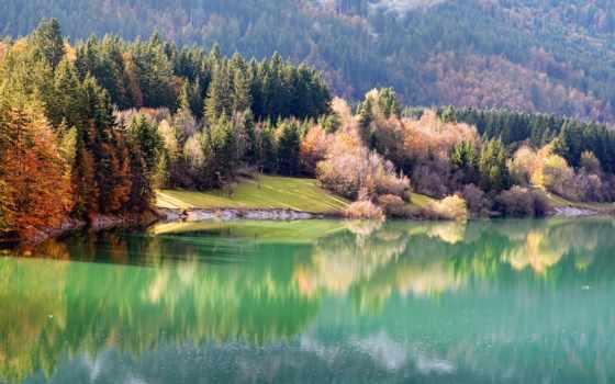 природа, река, осень, берег, лес, компьютера, нояб, украшением, высоком,