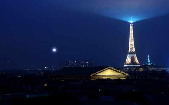 eiffel, эйфелева, turret, башня, париж, french, лунная, ночь, франция,