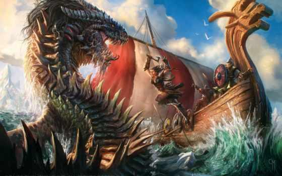 monster, море, кракен, несмотря, desktop, art, viking, fantasy,