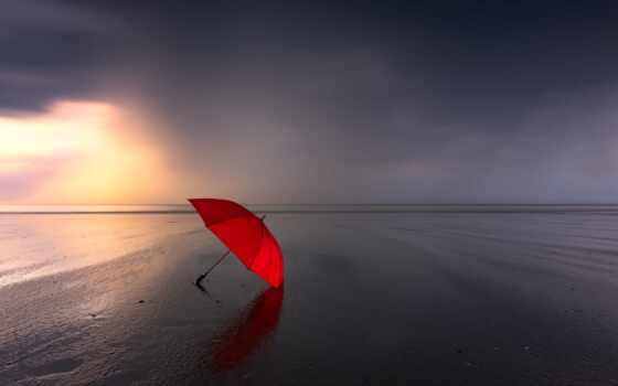 зонтик, пляж, море, песок, red, берег, горизонт, пасмурный