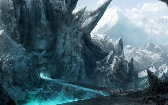 лицо, рот, скалы, путники, горы, мост, каменное, картинка, обитатели,