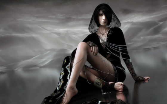 black, fantasy, девушка, небо, ecran, fonds, платье, hintergrundbilder,