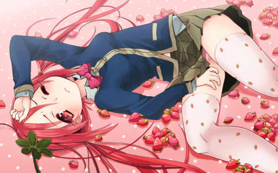 red, hair, thighhighs, strawberry, original, eyes, kuromaru, wink,