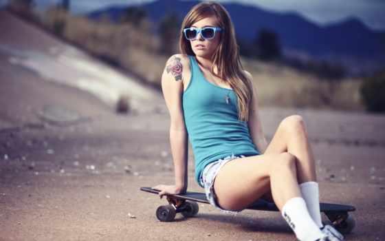 девушка, скейт