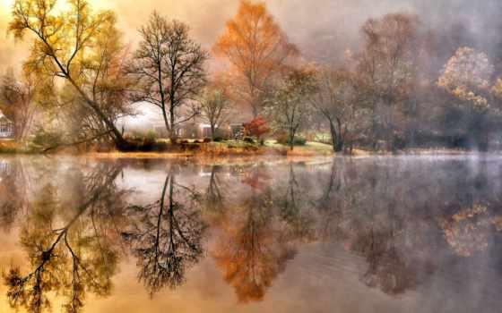 река, деревья