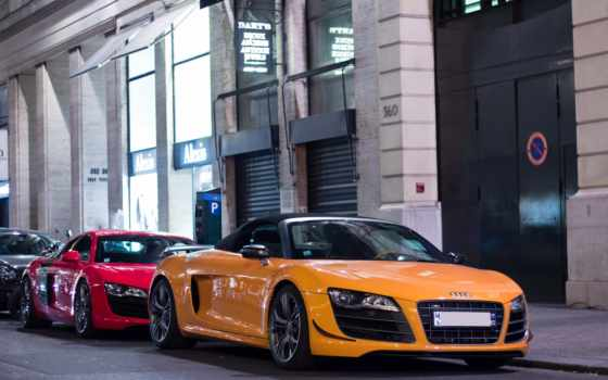 ауди, spyder, cars, vehicles, red, yellow,