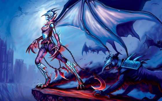 devushki, дракон, фантастики, мира, фэнтези, игра,