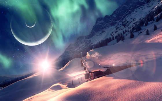 слоем, qauz, снега, заснеженном, deviantart, космос, house, толстым,