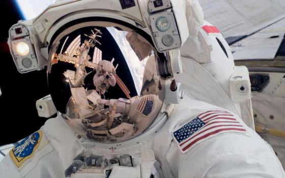 космонавт, масть, космос, астронавт, отражение, скафандре,