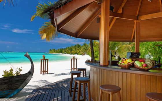 пальмы, море, пляж, песок, остров, тропики, ocean,
