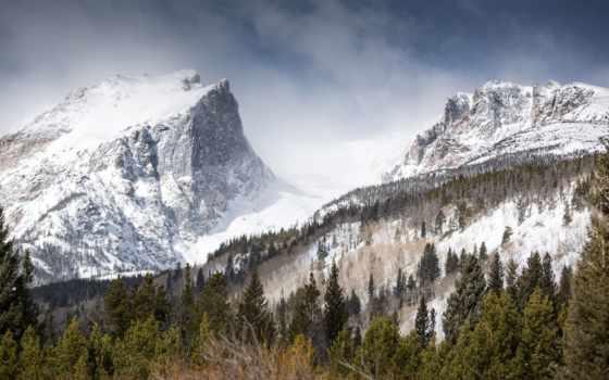 снег, природа, landscape, гора, mountains, winter, trees, лес,