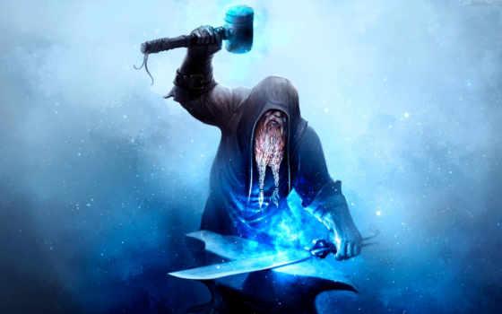 blacksmith, art, наковальня, хаммер, меч, огонь, fantasy, ipad,