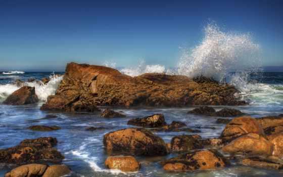 мар, rocas, las, olas, contra, fondos, chocando, descarga, papel,