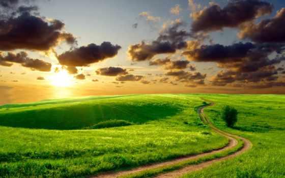 summer, природа, leto, дорога, sun, příroda, холмы, ráno, plochu,