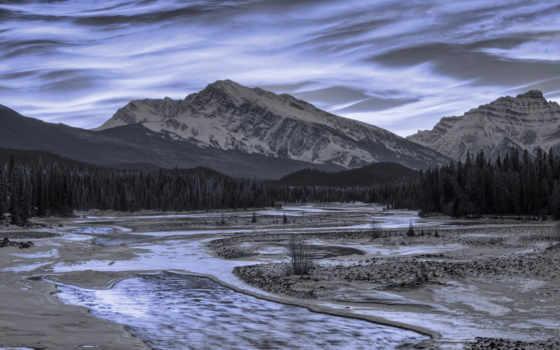 soleil, coucher, montagnes, enneigées, ruisseau, images, landscapes, montagne, агапе, оранжевый,