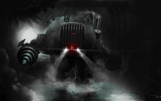 robot, ужасный, циркулярной, пилой, вместо, рук, буром, роботы, стоит, пещере,