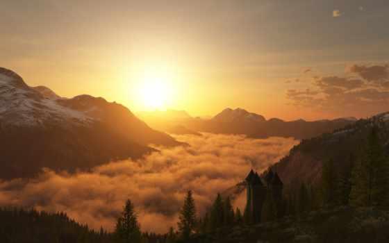 горы, облака Фон № 6968 разрешение 1920x1200