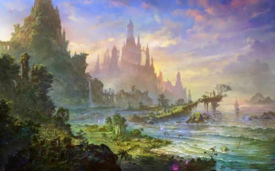 горы, замок Фон № 22789 разрешение 1680x1050
