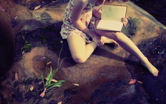 девушка, книга, читает, книги, ноги, сидит, модель, дерево, камень, довольно, картинка,
