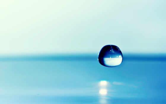 drop, waters, голубая, water, trick, падающая,