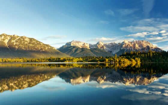 горы, озеро, гор, отражение, природа, пейзажи -, oblaka, вершины, качестве,