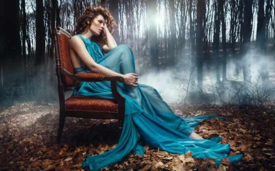 девушка, платье, осень, devushki, лесу, аватар, длинном, сидит, лес, голубом,