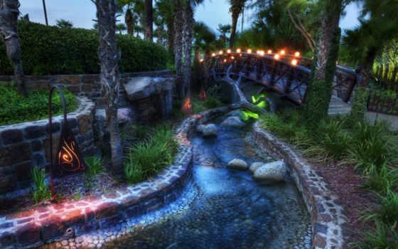 ручей, мост, сказка, лампы, деревья, пальмовые, смотрите,