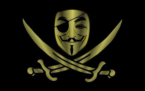 пират, anonymous, маска, шпаги, минимализм, анонимус, картинка,