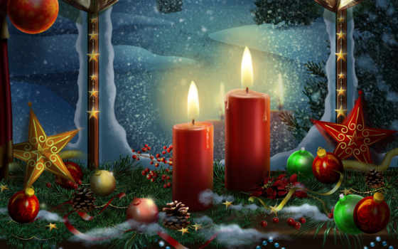 свечи, christmas, new, год, праздники, рождественские, шары,