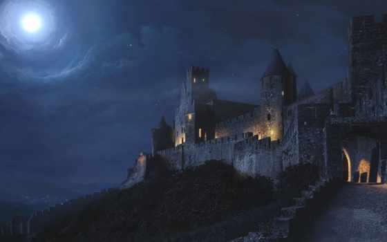 fantasy, castle, scene, лес, scenes, уровень, воздушные, views, am,