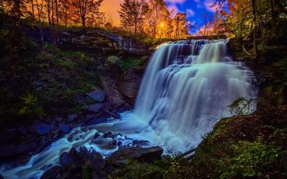 водопад, скалы, waterfalls, неба, микс, fone, шумей, закат, лес,