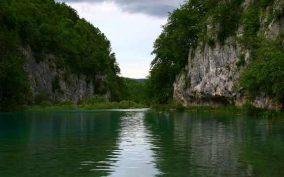 озеро, скалы, trees, природа, landscape, лес, небо, высоком, virginia,