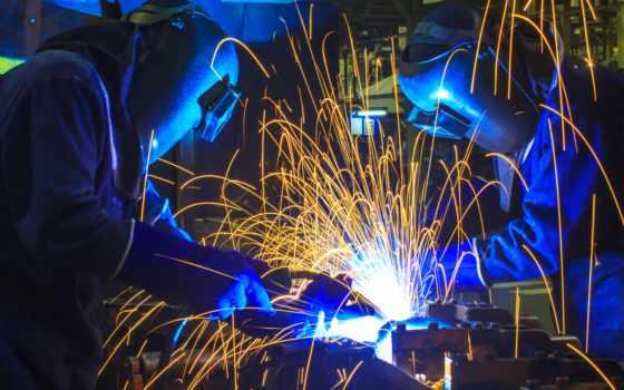 сварщик, мужчины, personal, техника, защитный, работать, сварка, factory, welders, industrial, искры,