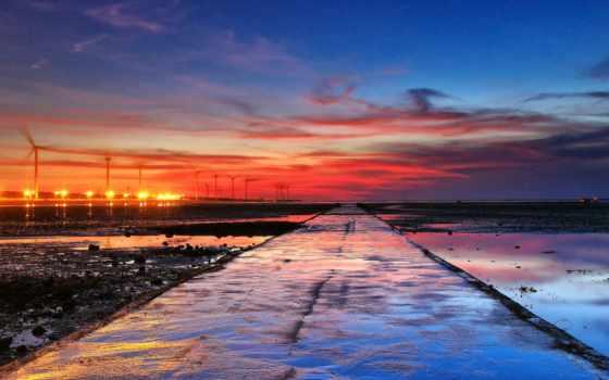 закат, море, taiwan, oblaka, changhua, небо, water, gooollll, дорога, китаянка,